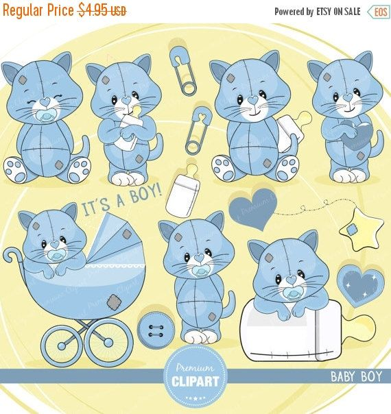 70% OFF SALE Baby shower clipart, baby boy clipart, baby toddler clipart, kitty clipart, it's a boy clipart, commercial use - SAE116 by PremiumClipart on Etsy