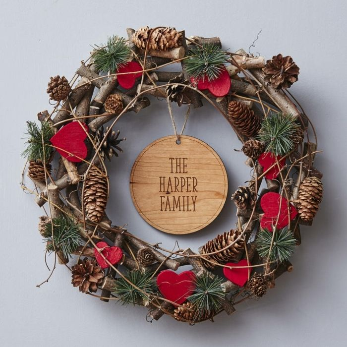 Decoracion navide a casera corona navide a natural de for Decoracion de navidad casera