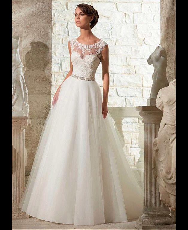 Eleganter Tüll Juwel-Ausschnitt natürliche Taille A-Linie Brautkleid mit Vened…