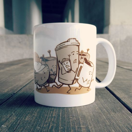 """""""Waking Dead"""" mug for all morning zombies! Now availalble at OtherTees.com/shop! #zombie #twd #mug #coffee"""