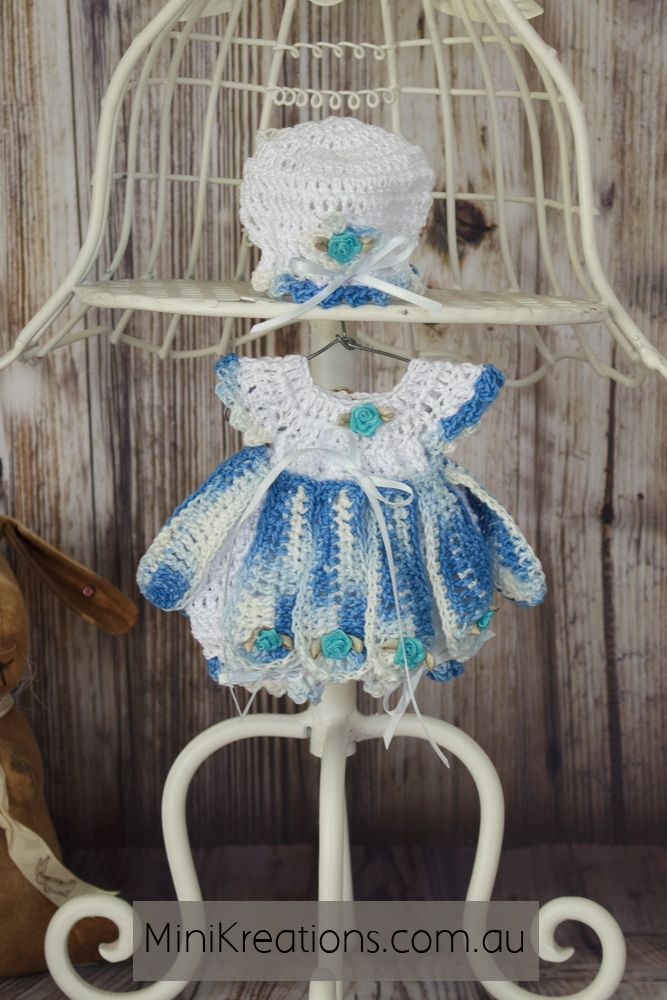 Doll Clothing for 8/9 Inch dolls . Petal Onesie in blue and white