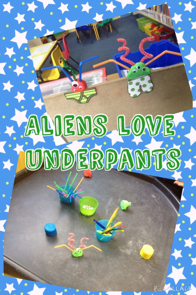 Aliens love underpants playdough enhancements as part of our space topic