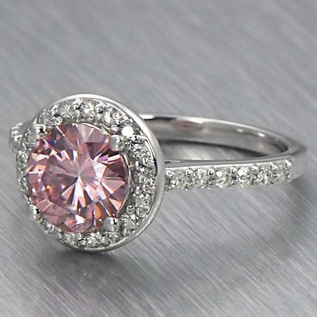 6.5mm Round Pink Moissanite Halo Engagement Ring Embrace | eBay