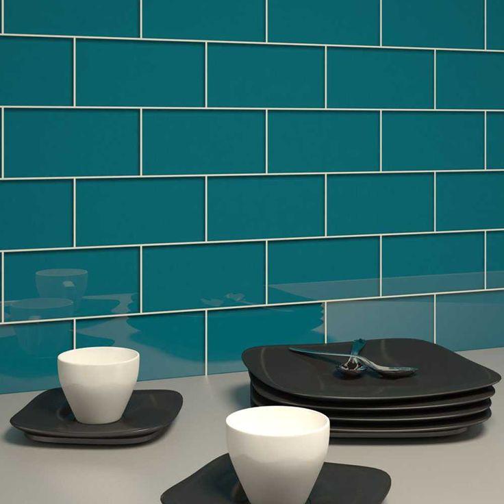 "Glass Subway Tile (Dark Teal) - 3"" X 6"" Piece"