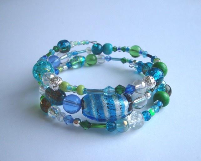 Memory Wire Bracelet in aqua colours £6.95