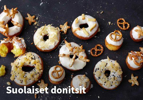 Suolaiset donitsit, Resepti: Valio #kauppahalli24 #Valio #vappu #donitsit #suolaiset #vappuruoka