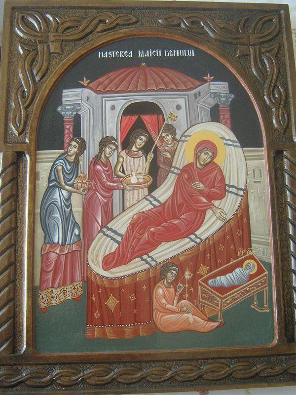 Рођење Пресвете Богородице, јајчана темпера на дасци, 50х40 цм, злато
