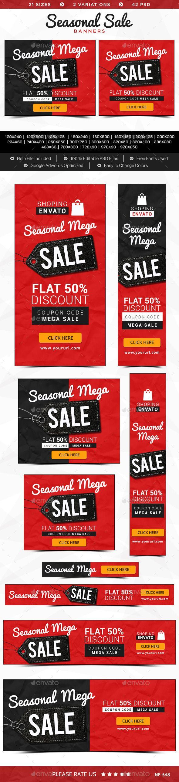 Seasonal Sale Banners Template #design #ads Download: http://graphicriver.net/item/seasonal-sale-banners/12335742?ref=ksioks