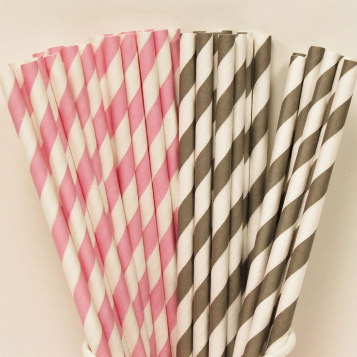 30 Pink and Grey Paper Straw Party Assortment with DIY Flags, Pink Parties, Babys First Birthday, Baby Showers, Paper Drinking Straws. $4.50, via Etsy.
