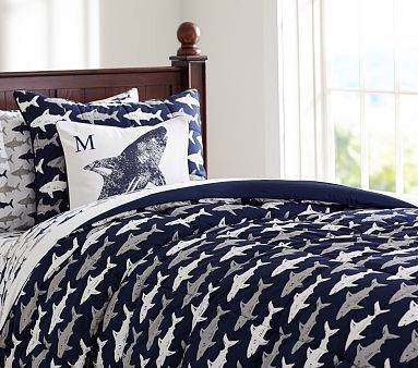 Shark Comforter & Sham #pbkids - $75 (sale) - reversible to navy