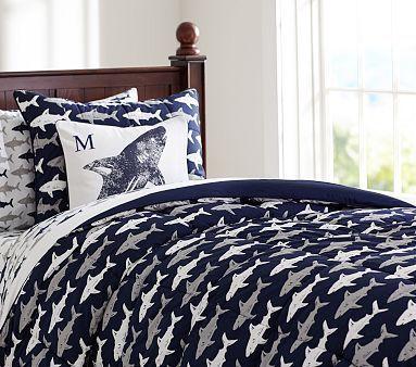 Cruz' shark bedroom Shark Comforter & Sham #pbkids