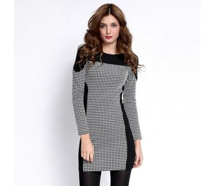 Autumn/Winter 2014 | FULLAHSUGAH DOGTOOTH PANEL BODYCON DRESS | €34.90 | 3422102920 | http://fullahsugah.gr