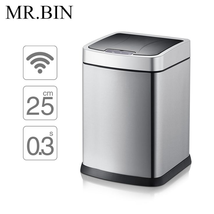 MR.BIN Smart Sensor Trash Can Square Automatic Waste Bin Stainless Steel Induction Dustbin Environmentally Plastic WB-SS001 9L #Affiliate