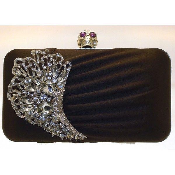 Black Ruffled Hard Case Diamante Crystal Evening Clutch Bag Skull Design