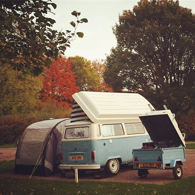 Liked on InstaGram: All set up  #trailer #campervan #awning #airawning #camper #vdub #aircooled #exmoor #dulverton #vwt2 #vw #camping #glamping #latebay #matching
