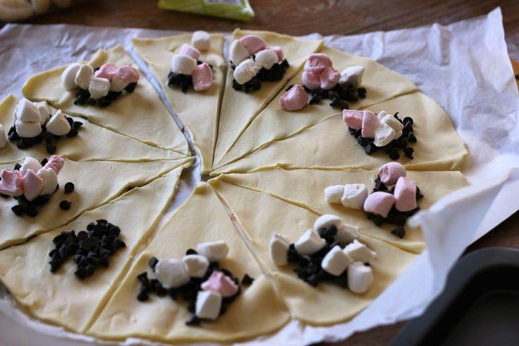 Mini-croissants chocolat / chamallows
