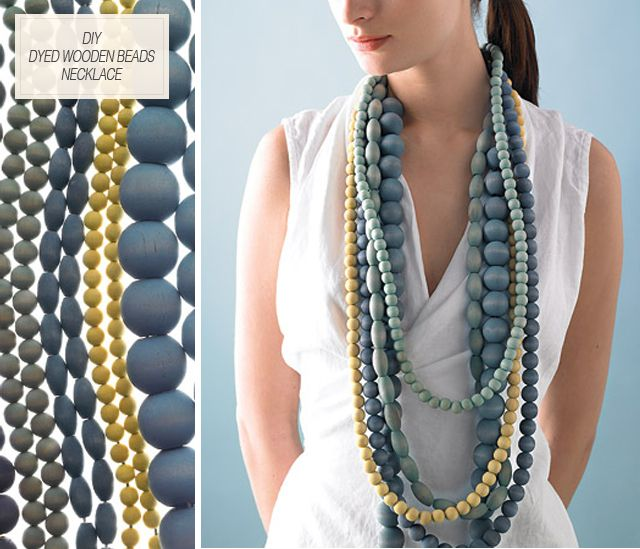 DIY Dyed Wooden Beads Necklace