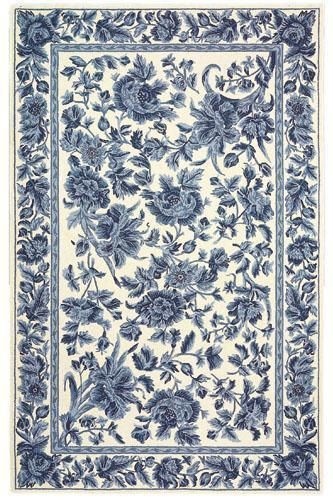 "Dollhouse miniature French Country Shabby Blue floral toile area rug carpet 3"" x 5"""