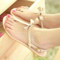 2015 новые поступления мода лето пляжная обувь сладкий с бантом ленты сандалии сладкий вьетнамки сандалии горячая распродажа