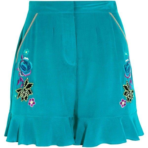 MATTHEW WILLIAMSON   Sakura embroidered silk crepe de chine shorts ($240) ❤ liked on Polyvore featuring shorts, matthew williamson, silk shorts, teal shorts, embroidered shorts and beaded shorts