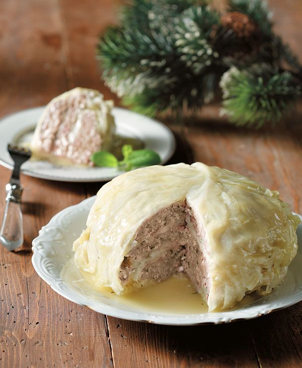 Cheese and ground beef make up the perfect filling for this tasty stuffed cabbage ball! #greekfood