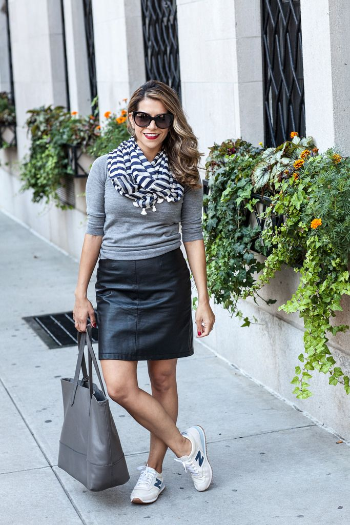 J.Crew Sweater Thrifted Leather Skirt (similar at French Connection) J.Crew Tote J.Crew Scarf J.Crew Sneakers Prada Sunglasses (similar here) The classic mini leather skirt! It's…