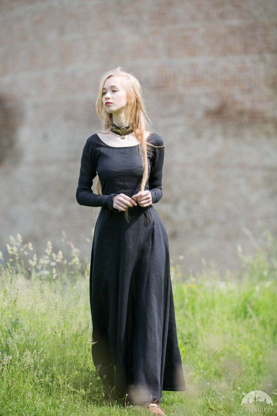 """Medieval Long Linen Dress Tunic """"Red Elise"""""""