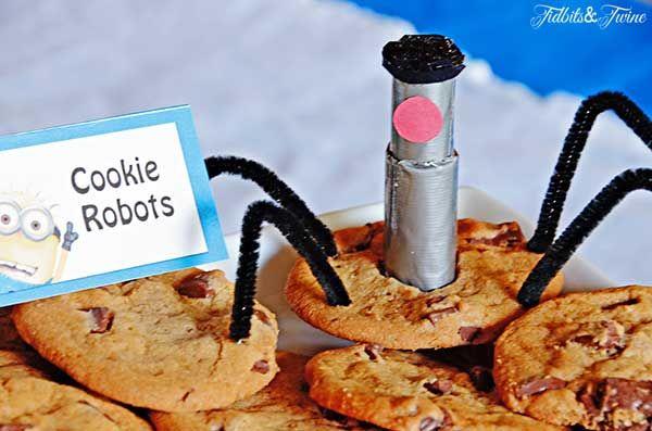 Minion party food ideas: ◦Miniondogs (mini corndogs) ◦Agnes's Caterpillars (Cheetos) ◦Pineapple and Blueberries ◦Minion Bananas ◦Cookie Robots ◦Coconutties ◦Merry Minions (Twinkies) ◦Cake ◦PX-41 Antidote (Yellow Lemonade) ◦Anti-Gravity Serum (Purple Grape Juice)