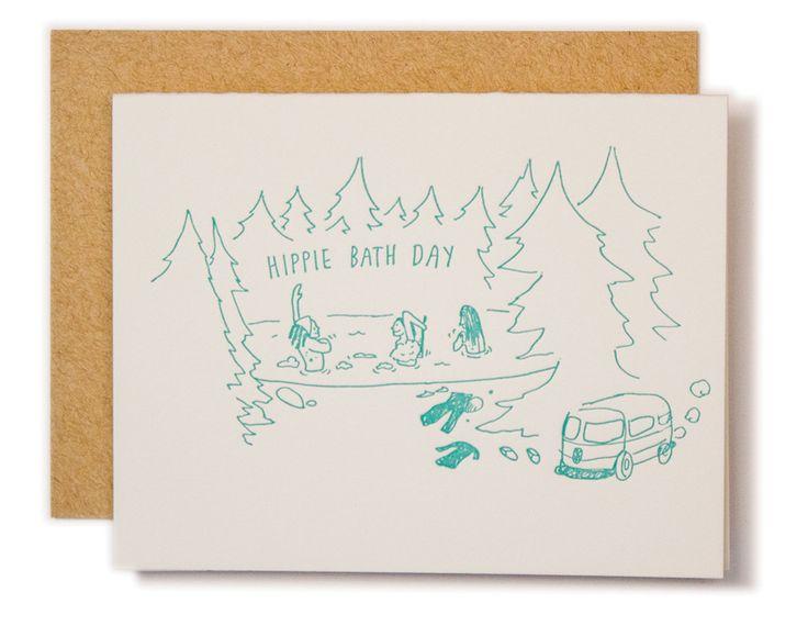 Hippie Bath Day Card