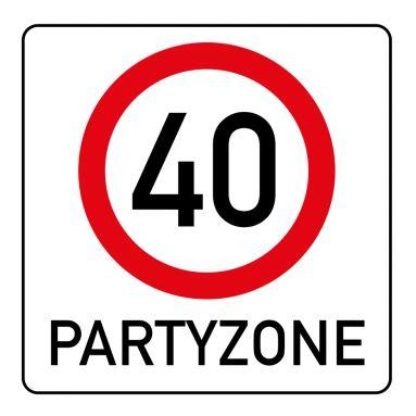 Witzige Einladungskarte zum 40. Geburtstag mit Verkehrsschild Partyzone 40#40#Verkehrsschild#Partyzone#Geburtstag#Einladung #EinladungGeburtstag.de