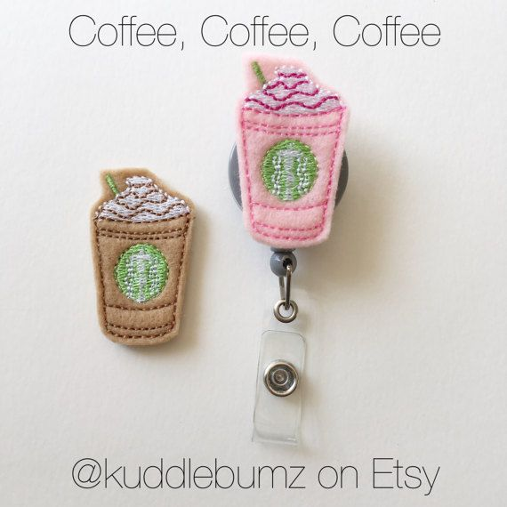 Frappe Badge Holder This handmade, colorful felt coffee drink measures 1 x 2 inches. It is attached to a retractable ID badge holder with your choice of clip on the back. Check out the rest of the badge holders here: https://www.etsy.com/shop/kuddlebumz?ref=hdr_shop_menu&section_id=10549642