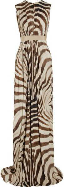 GIAMBATTISTA VALLI  Africa Queen    Zebraprint Stretch Crepejersey Gown