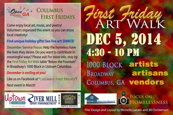 December's First Friday Art Walk is going to be a blast! There's going to be a lot of artistic and musical talents all in one place! We will be on the 10th St side of Broadway's 1000 block (the area in front of fountain city and closer to the fountain).   I'm really excited! I'll be performing in this event! Live art, collaborative art, and dance!  :D