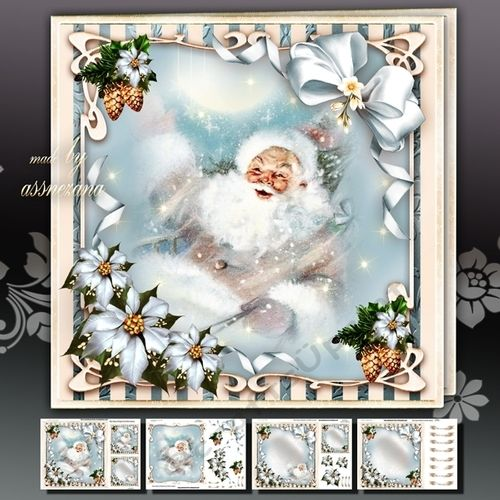 Winter Santa Sleigh With Gifts In The Sky: 4 Sheets For