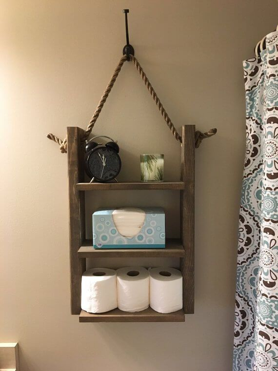 Bathroom Shelf, Rustic Ladder Shelf, Rope Shelf, Hanging Shelf With Hook
