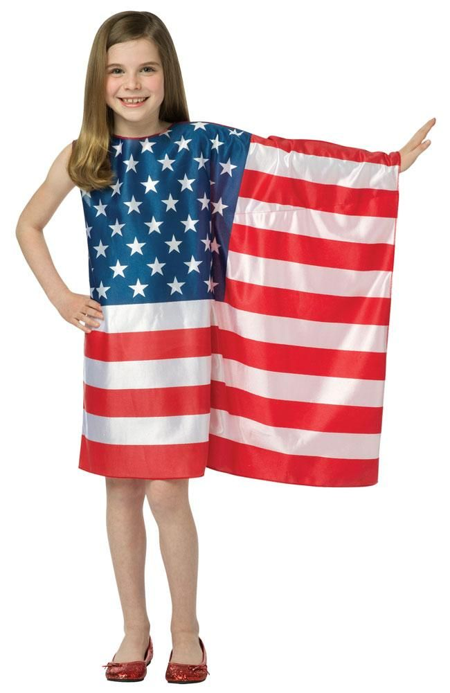 Brand New USA Flag Dress Patriotic Freedom Outfit Child Costume