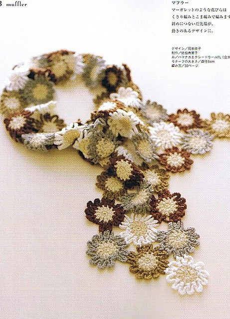 Japanese Crochet Flower Scarf by Lydia Brown