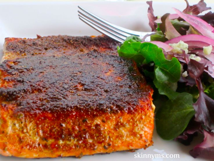 Blackened Sockeye Salmon - Spice up dinner with this Salmon recipe that seals in flavor and has a crispy exterior. And, you can't beat salmon for its high protein content and heart healthy omega 3 fatty acids.