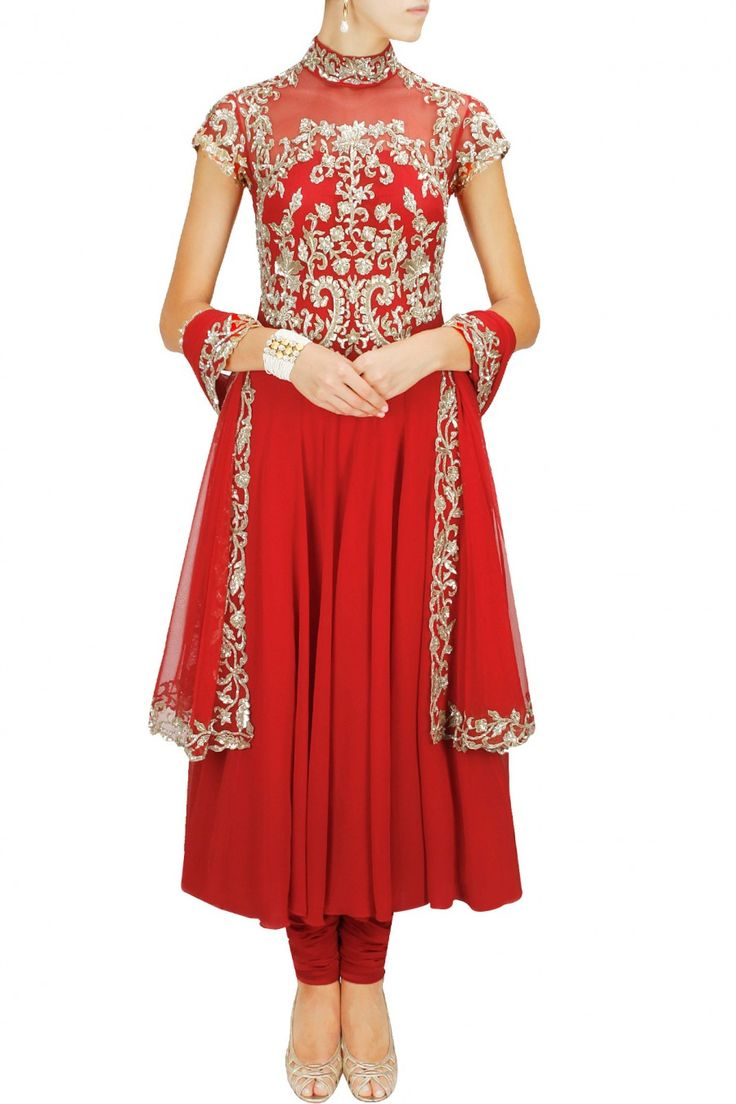 MALASA Red collared embroidered anarkali set Product Code - MLC2M101477 Price - S$ 697