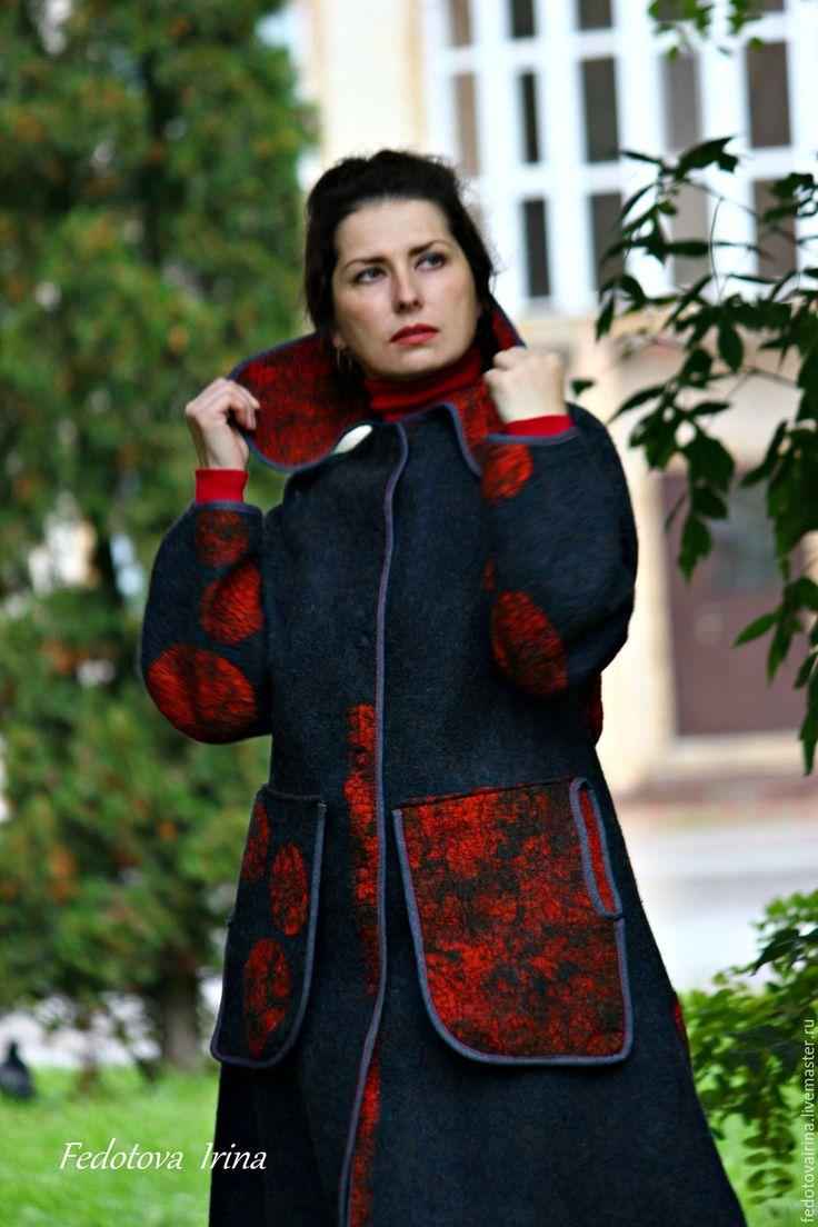 """Купить Авторское пальто""""Антрацит"""".Коллекция """"Калейдоскоп"""". - темно-серый, в горошек, пальто, легкое пальто"""