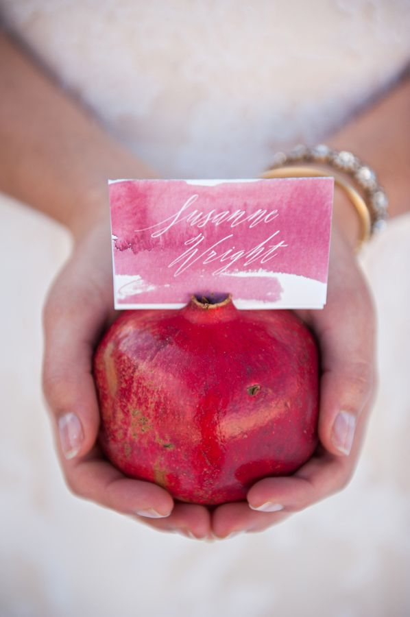 Watercolor Place Card in Pomegranate | photography by http://brookebakken.com
