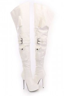 White Thigh High Platform Boots Faux Leather.... www.amiclubwear.com