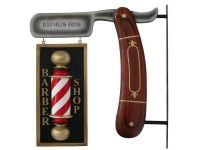 Vintage Brown Wood Shaving Blade & Double Sided Embossed Barber Pole Advertising Board