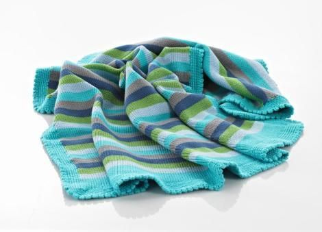 Snuggle up for sweet dreams in your soft blue striped blanket. Great in the cot or to throw on the ground for playtime. This crocheted blanket was handmade by w