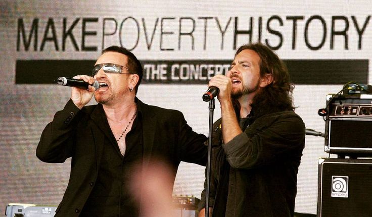 """10 years ago today #Bono and #Edge appear on stage with Pearl Jam at a Make Poverty History concert in Melbourne, Australia. During the appearance, Bono jokes that #U2 and #PearlJam have formed a new band, """"U-Jam""""  #onthisday"""