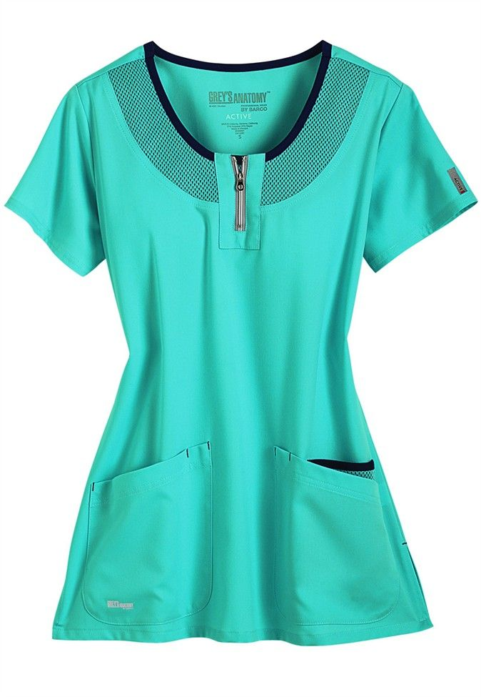 Greys Anatomy Active round neck mesh trim scrub top.