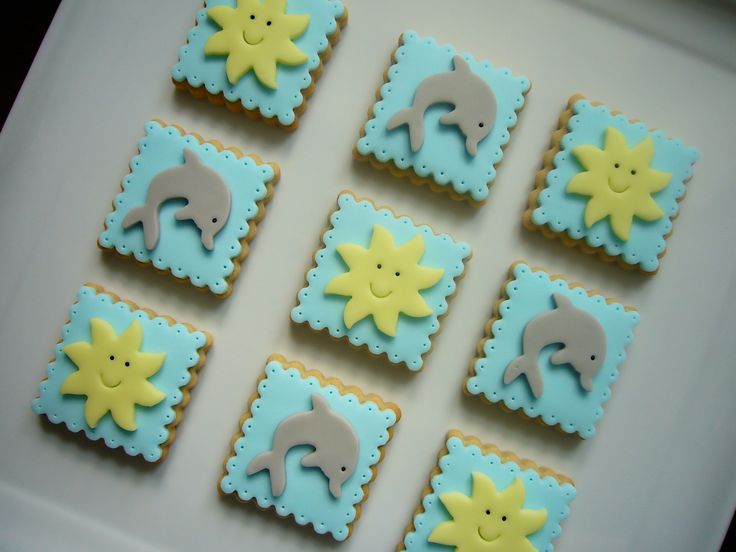 Sun and dolphin cookies