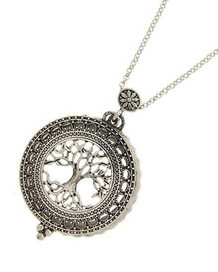"Silver tone 29 1/2"" necklace with tree magnifying glass pendant (1 3/4"" x 2 5/8"")"