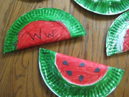 """Ww"" is for watermelon. staple sides, leave top open and finish with a string for a strap. watermelon purse!"