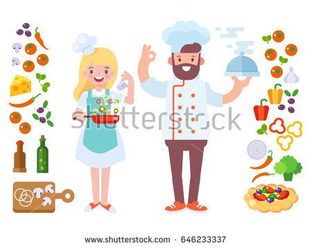 Vector Male and Female Chef. Set of pizza ingredients icons. Flat vector, cartoon style. Characters are good for animation.